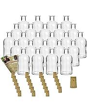 Juego de botellas de cristal «Apotheker» de Gouveo, con corcho incluido, para rellenar con licores, Verschluss Spitzkorken, 24er Set