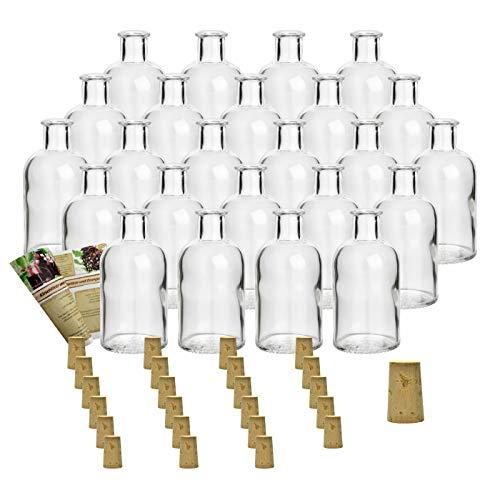 gouveo 24er Set Flasche Apotheker 100 ml inkl. Spitzkorken, Likörflasche, Schnapsflasche
