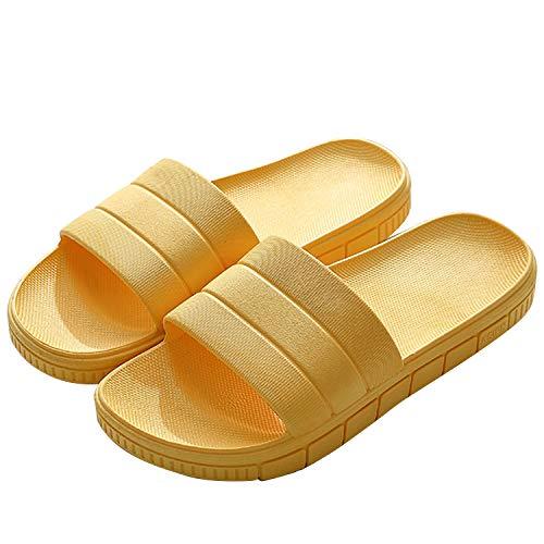 Zapatillas Pantuflas de Estar por casa de Hombre & Mujer & Pareja, Tira Ancha, Sandalia Tipo Chancla Verano, Amarillo, 36/37 EU