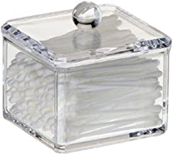 HQdeal Square Acrylic Cotton Ball Cotton Pad Holder, Single Tier