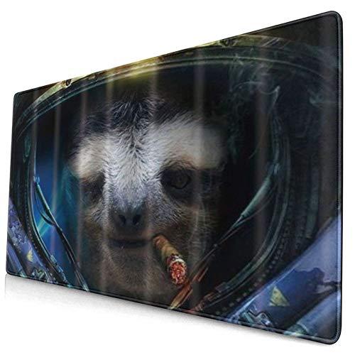 HUAYEXI Alfombrilla Gaming,Espacio Exterior Animales Salvajes Pereza Cigarros Traje,con Base de Goma Antideslizante,750×400×3mm