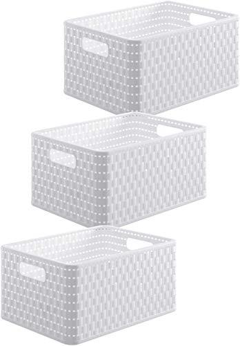 Rotho Country Set di 3 scatole da 6l in rattan-look, Plastica (PP) senza BPA, bianco, 3 x A5/6l (28,0 x 18,5 x 12,6 cm)