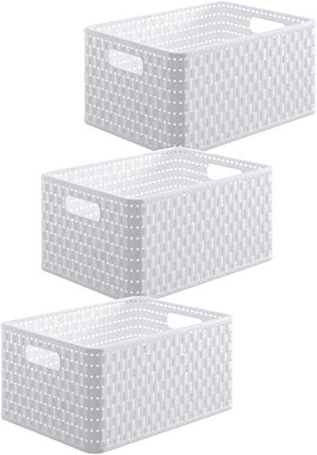 Rotho Country 3er-Set Aufbewahrungsbox 6l in Rattan-Optik, Kunststoff (PP) BPA-frei, weiss, 3 x A5/6l (28,0 x 18,5 x 29,0 cm)