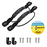 2 Pcs Kayaks Canoe Side Mount Handles Replacement with Bungee Cord Paddle Holder Accessories + 2 PcsJ Hook with Hardware, Kit for Luggage Handle, Cooler Handle, Incubator Handle