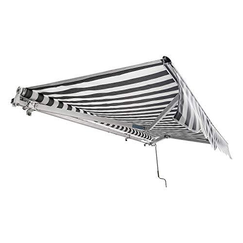 wolketon Gelenkarmmarkise Easy Balkonmarkise Sonnenschutz Terrasse, Kurbelbedienung, für Balkon und Veranda 2,5 x 2 m, Weiß Grau, Anti-UV und wasserfest