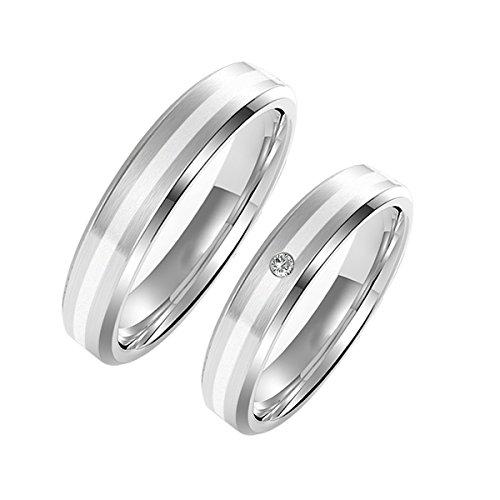 Amtier Paar Ringe Eheringe Edelstahlringe für Damen Herren mit Geschenkbox, 74 (23.6)