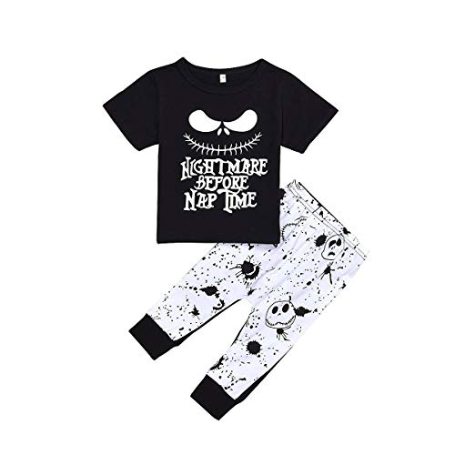 Toddler Baby Boy Clothes 2Pcs Outfit Set Nightmare Printing Short Sleeve and Skull Pants Clothing Set(3-4T,120)