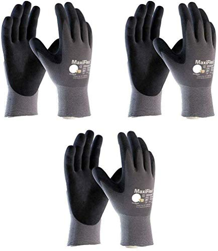 3 Pack MaxiFlex 34-874 Gloves Nitrile Micro-Foam Grip Palm & Fingers - Excellent grip and abrasion resistance (Size-L/3 Pairs)