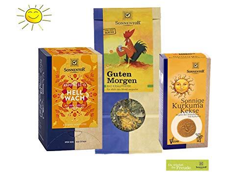 Sonnentor BIO Morgen-Tee: Guten Morgen Kräutertee lose + Hellwach Tee + Sonnige Kurkuma Kekse BIO-AT-301