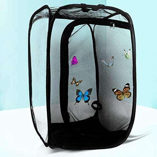 Runsmooth Insektenkäfig - TInsekt und Schmetterling-Lebensraumkäfig mit Reißverschluss Faltbarer Pflanzenzüchtungs-Netzkäfig Terrarium Pop-up, L