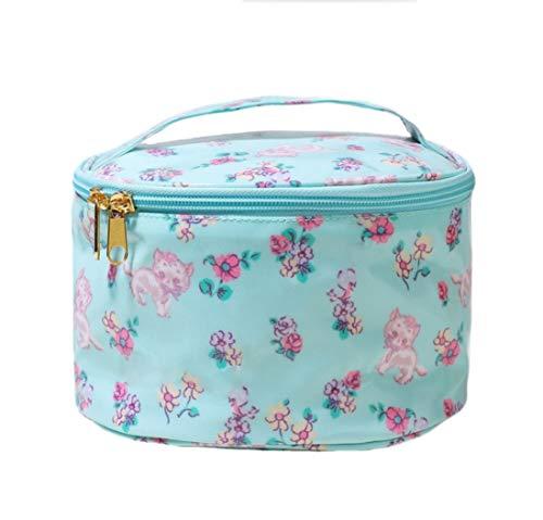 Sac cosmétique, sac de stockage de grande capacité d'articles de toilette de voyage portatif d'impression cylindrique d'impression 20,0 cm * 20,0 cm * 18,0 cm,White