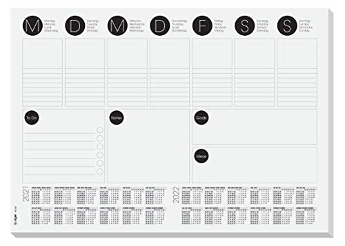 Sigel HO506 Papier-Schreibunterlage A3 mit 2-Jahres-Kalender, Wochenplaner, To-Do-Liste, 30 Blatt - weiteres Design