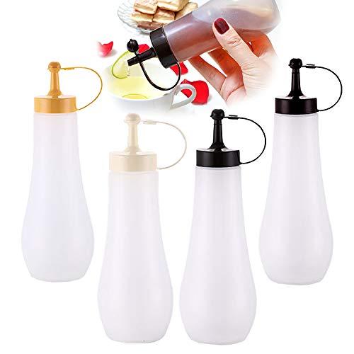 NC56 4 Stück Squeeze Flasche,360ML-Auslaufsicher Salat Sauce Flasche mit Kappe,für Condiment Sauce