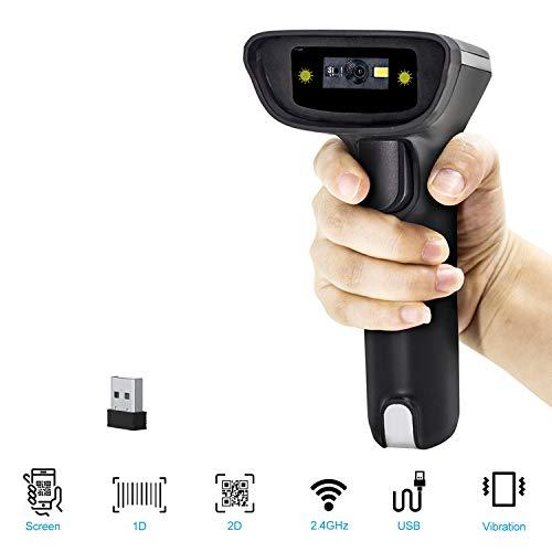 Escáner de código de barras 2D, alacrity inalámbrico USB portátil con procesador de alerta de vibración de 32 bits, compatible con Windows, Mac OS, Android, iOS
