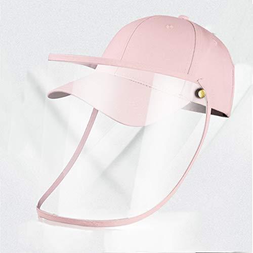 MOHOO Baseballkappe Mit Schützendem Removable Gesichtsschutz Augenschutz Schützende transparente gegen Speichelspritzer Visier-Baseballkappe winddichter Sand-Windschutzscheibenhut für Erwachsene Pink