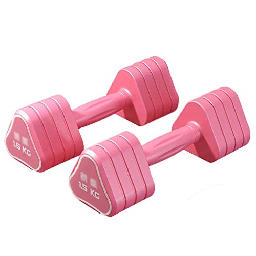 Hanteln Triangle Ladies Dumbbells Heimsport-Trainingsgeräte Ladies Fitness Xiaoya Ling Multifunktionale Fitnessgeräte 2/3/4/6 Kg Rubber Dumbbells (Color : Pink, Size : 1KG*2)