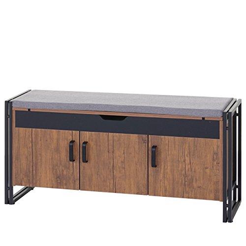 Mendler Sitzbank HWC-A27, Kommode Bank, 53x110x30cm 3D-Struktur, Wildeiche-Optik