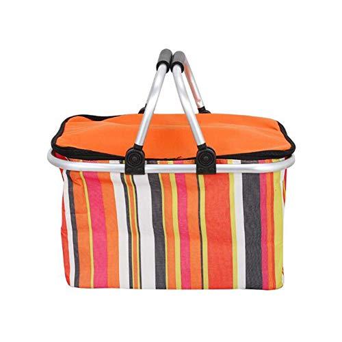 Yiyu Picknickrucksack Faltbarer Picknickkorb Isolierte Aufbewahrung Einkaufskorb Klappbarer Aluminiumgriff Einkaufskorb Kühltasche x (Color : Orange)