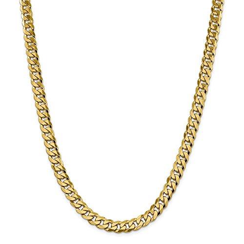 Collana in oro giallo 14 kt, 8,25 mm, smussata a catena, 55 cm, per uomo e donna