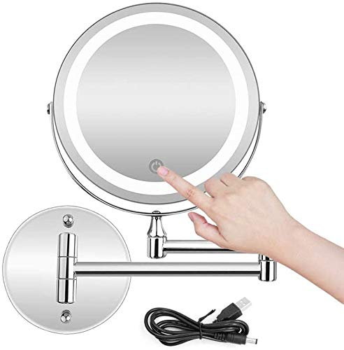 Makeup Table with Mirror LED Wall Mounted Makeup Mirror With Dimmable Lights Rechargeable Magnifying Bathroom Shaving Mirror USB/AAA Batteries Double Source mwsoz