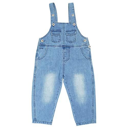 FEOYA Niños Bebé Petos Vaqueros Overalls Denim Pantalones Tirantes Largos Jeans Strench Casual Monos 0-2 Años