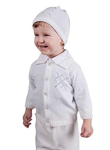 Boutique-Magique - Chaleco para niño con gorro para bautizo blanco 3 años