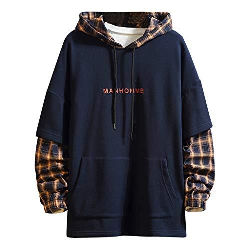 iLOOSKR Winter Men Patchwork Solid Hooded Sweatshirt Long Sleeve Pullover Top