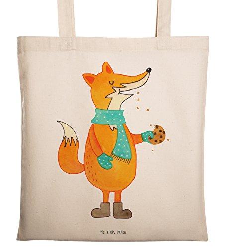 Mr. & Mrs. Panda Jutebeutel, Einkaufstasche, Tragetasche Fuchs Keks - Farbe Transparent