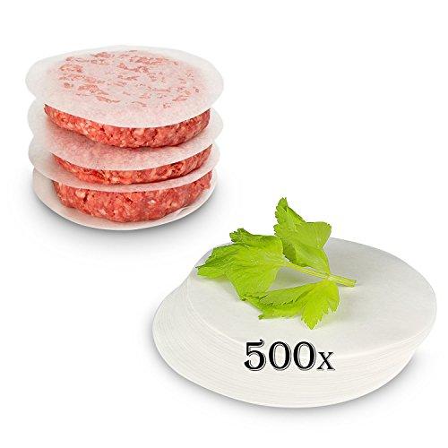 Belmalia ► 500 Hojas ◄ de Papel Pergamino Horno Redondo Burgers, Hamburguesas, Cheeseburgers, Frikandellen, Albóndigas, Sartén, Barbacoa, Antiadherente, Sulfurizado, 11cm
