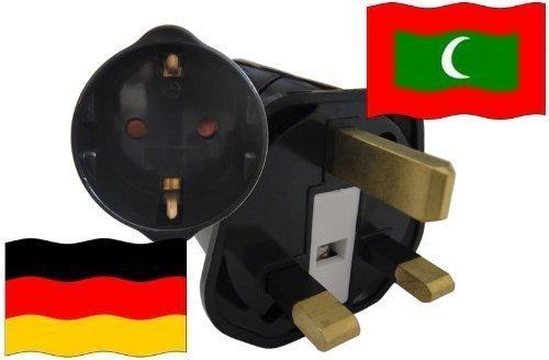 Urlaubs Reiseadapter Malediven für Geräte aus Deutschland Kindersicherung und Schutzkontakt 250V
