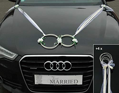 SANFTES RINGE Braut Paar Rose Deko Tauben Herze Dekoration Hochzeit Car Auto Wedding Deko (Ecru)