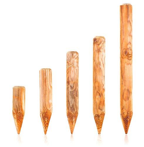 BooGardi Runde Baumpfähle Holzpalisaden · 39 Größen · ø 10cm, Länge: 60cm · Palisaden Holz als Beeteinfassung, Beetumrandung und Rasenkante