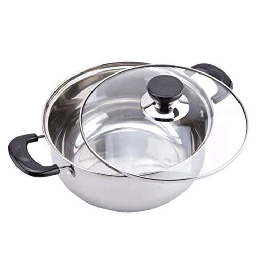 Gamvdout Olla para sopa de 20 cm, acero inoxidable, con tapa, asas resistentes al calor, no tóxica y fácil de limpiar (tamaño: 24 cm)