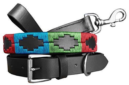 CARLOS DIAZ Zusammengehöriges Set Aus Gewachstem, Besticktem Polo-Hundehalsband Und Hundeleine, Echtes Leder S