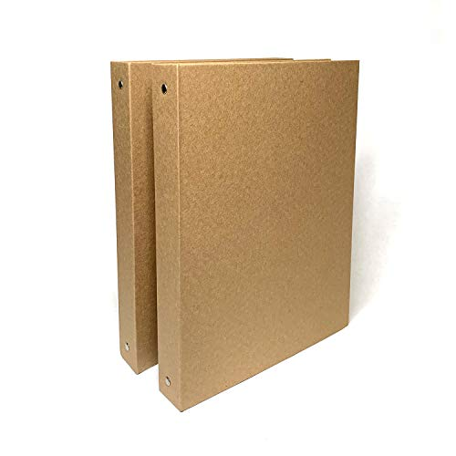 A4 Sized 3-Ring Kraft Binder (2/Pack) 1-inch Hardcover Organizer. Holds 200 Sheets Capacity, Durable, 3-Hole Punch Presentation Planner, Stationery Recycled Chipboard