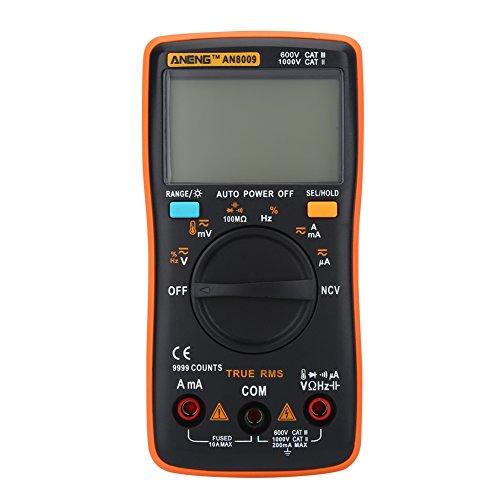 AN8009 Multímetro Digital Portátil Rango Automático Verdadero RMS Voltaje AC/DC Medidor Electrónico Pantalla LCD de Fondo