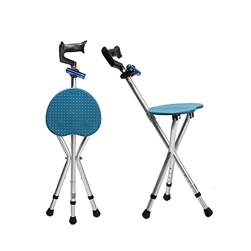 Folding Lightweight Adjustable Height Cane Seat 400 lbs Capacity Thick Aluminum Alloy Cane Stool Crutch Chair Seat 3 Legs Cane Seats Walking Stick Tall with LED Light Unisex for Elderly Blue