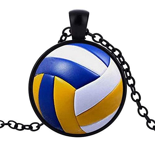 Unbekannt Générique Halskette mit Anhänger Bild Volleyball, Schwarze Kette