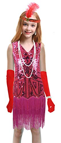1920s Kids Sequined Fringed Chicken Feather Dress Latin Dance Performance Costume Accessories Set (Small, Style 4 Hot Pink)