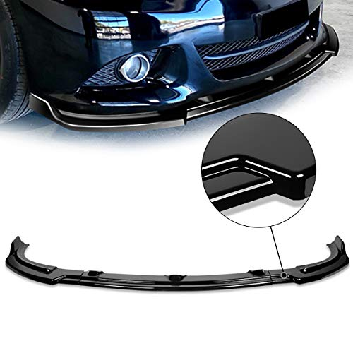 DNA Motoring 2-PU-525-PBK Front Bumper Lip Gloss Black 3Pc With Vertical Stabilizers Compatible with 10-13 G37 Sedan
