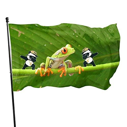 Bandera de jardín de ranas arbóreas Bandera de interior al aire libre 3 x 5 pies, banderas de playa duraderas y resistentes a la decoloración con encabezado, fácil de usar
