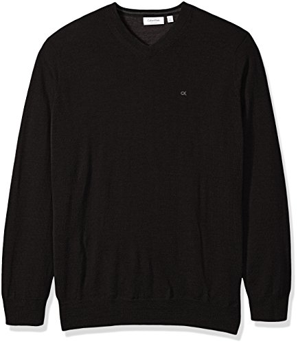 Calvin Klein Men's Merino Solid V-Neck Sweater, Black, X-Large
