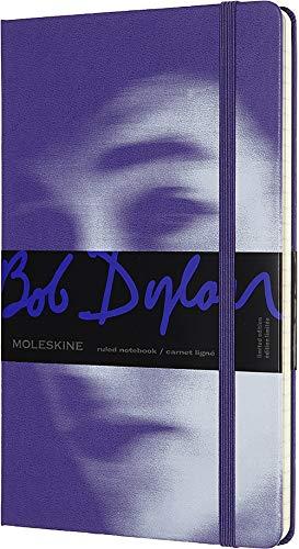 Moleskine - Cuaderno Bob Dylan Edición Limitada, Tapa Dura, Goma Elástica y Páginas con Rayas, Color Morado, Tamaño Grande 13 x 21 cm, 240 Páginas (EDITION LIMITEE)