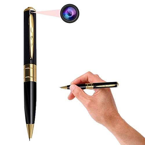 SekyuritiBijon Spy Pen Camera 32GB Supportable Mini Hidden Camera with Photo & Audio/Video Recorder Multifunction Home Security with Rechargeable Built in Battery (Gold & Black)
