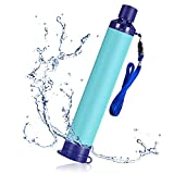 SimPure Personal Water Filter Straw, Portable Water Purifier with 1500L 4-Stage Filtration System, Outdoor Survival Gear for Camping Hiking Backpacking Emergency (Blue-1 Pack)