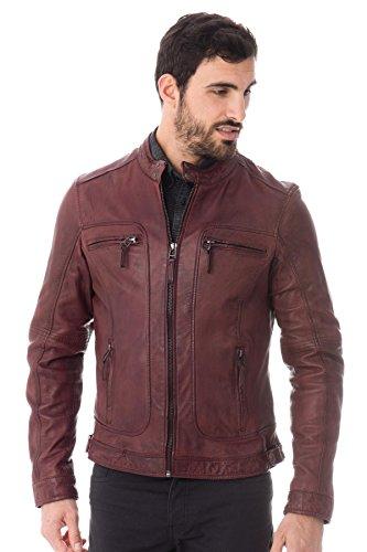 Oakwood Hombres casey biker chaqueta piel Borgoña