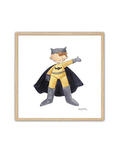 CUADRIMAN Tableau Batman encadré en Naturel, Bois, Jaune/Noir, 25 x 25 x 3 cm