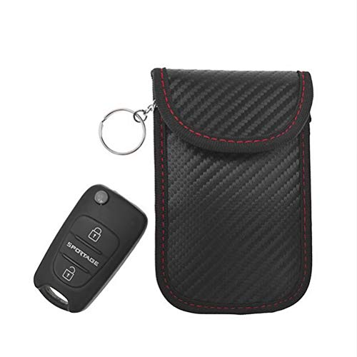 Signal Blocking Tasche für Autoschlüssel Signal Schutzbeutel Diebstahlschutz Kohlefaser Abschirm Tasche Autoschlüsselbeutel Autoanhänger, 12 * 8 cm Schwarz