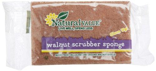 Natural Value Walnut Scrubber Sponge (Pack of 24)