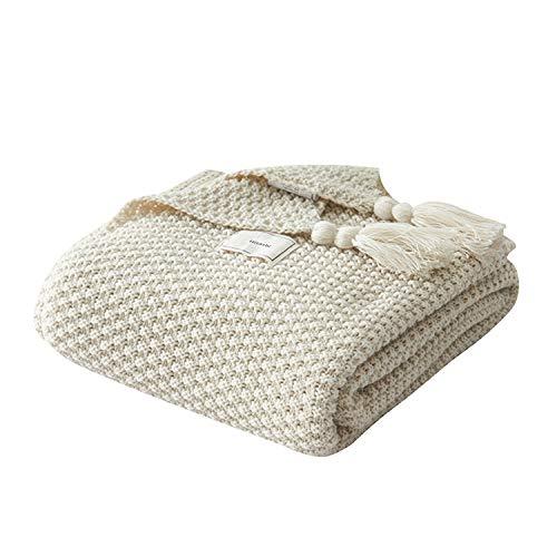 AUSTINCIAGA - Manta de punto para sofá, colcha de mesa, manta nórdica, cálida y suave con flecos, hecha a mano para playa, picnic, todas las estaciones (beige, 130 x 170 cm)
